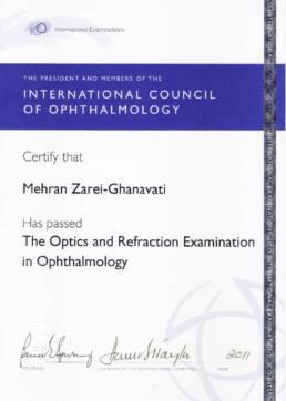 مدرک امتحان اپتیک انجمن بین المللی چشم پزشکی