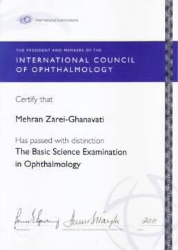 مدرک امتحان علوم پایه بینایی از انجمن بین المللی چشم پزشکی