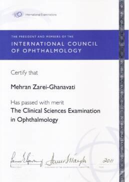 مدرک امتحان علوم بالینی چشم پزشکی از انجمن بین المللی چشم پزشکی
