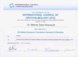 جایزه هلمریش انجمن بین المللی چشم پزشکی برای دوره فوق تخصصی قرنیه